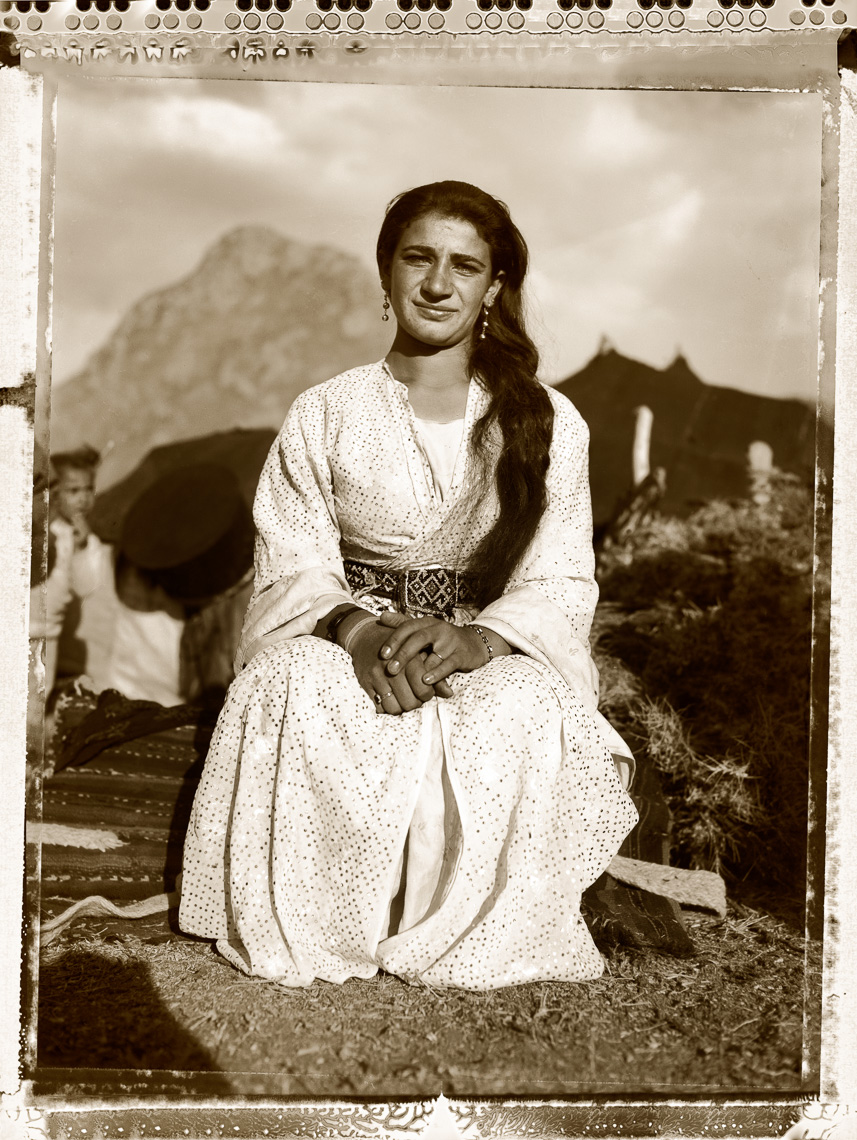 Kurdish portrait of young woman  in village  in mountain region near Syrian boarder.