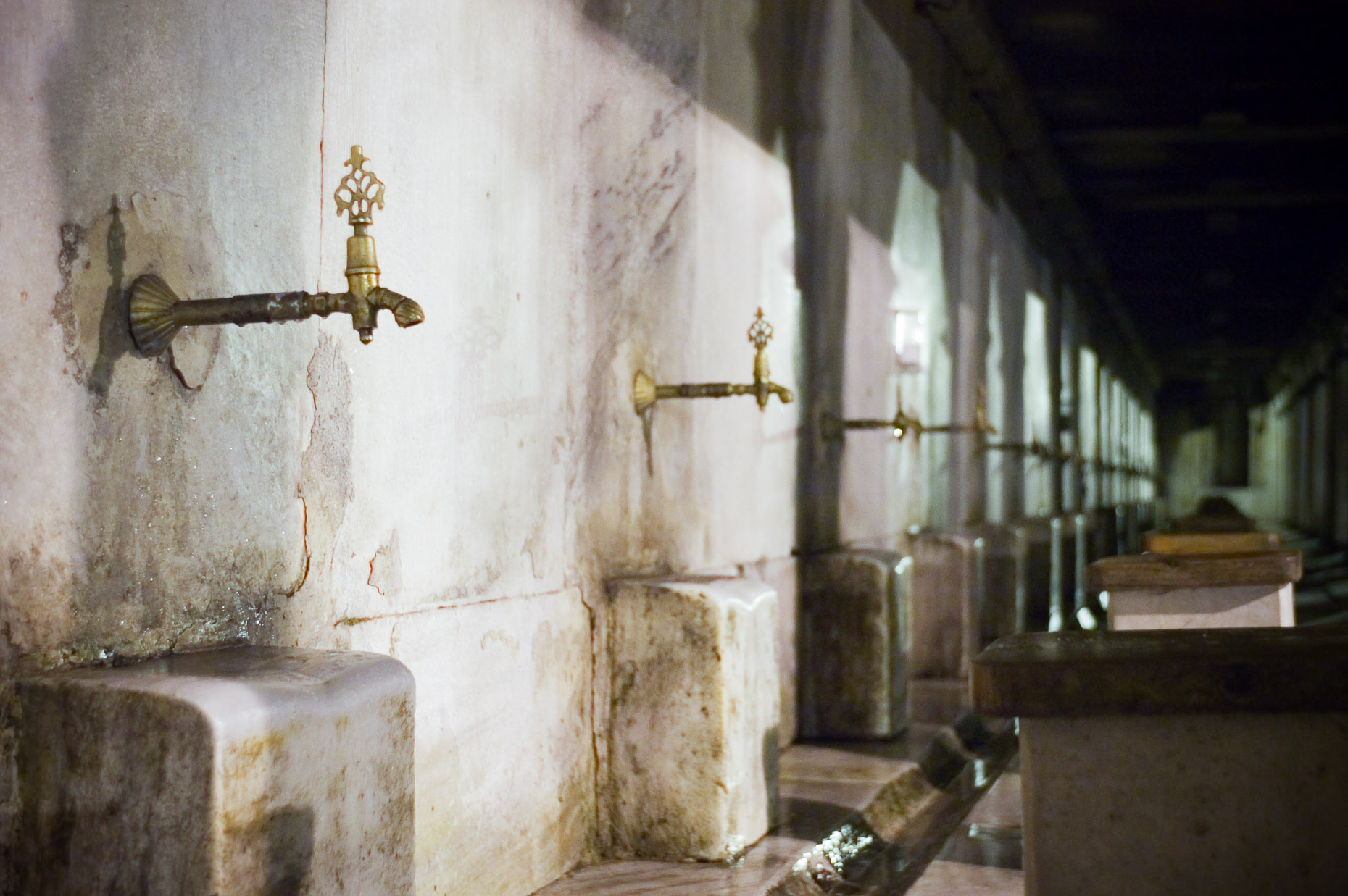 Water spigots for washing at Blue Mosque in Istanbul Turkey.