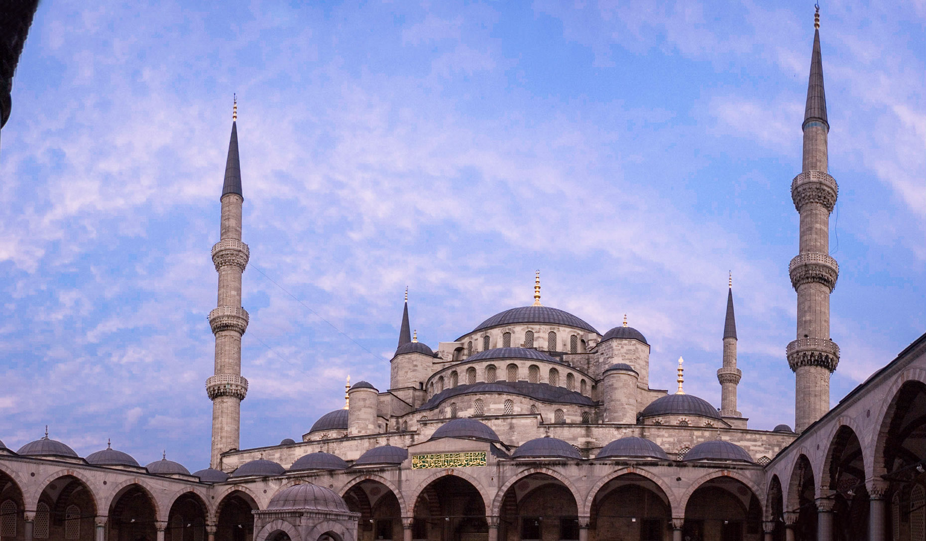Panoramic of Blue Mosque in Istanbul Turkey at sunset.