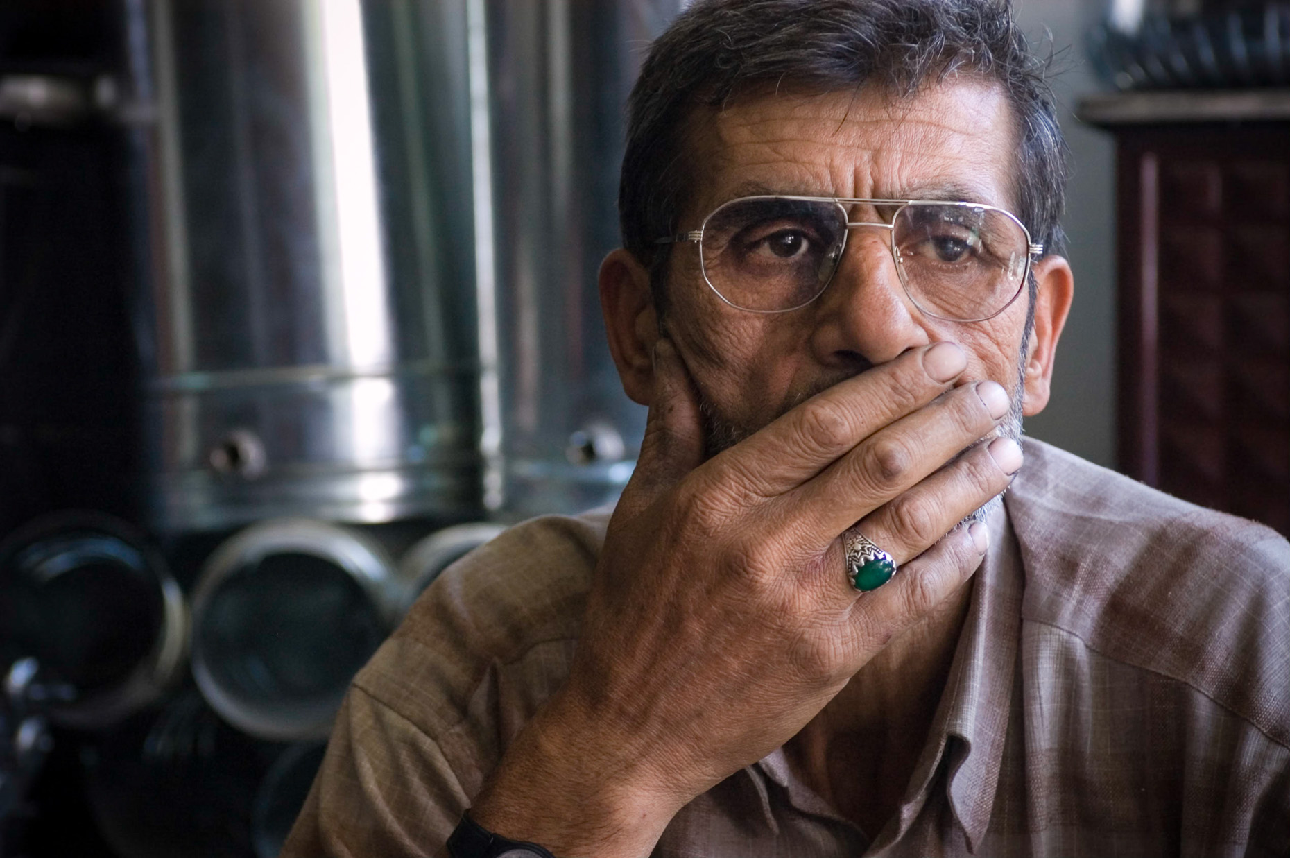 Portrait of older metal worker in Grand Bazaar, Konya, Turkey.