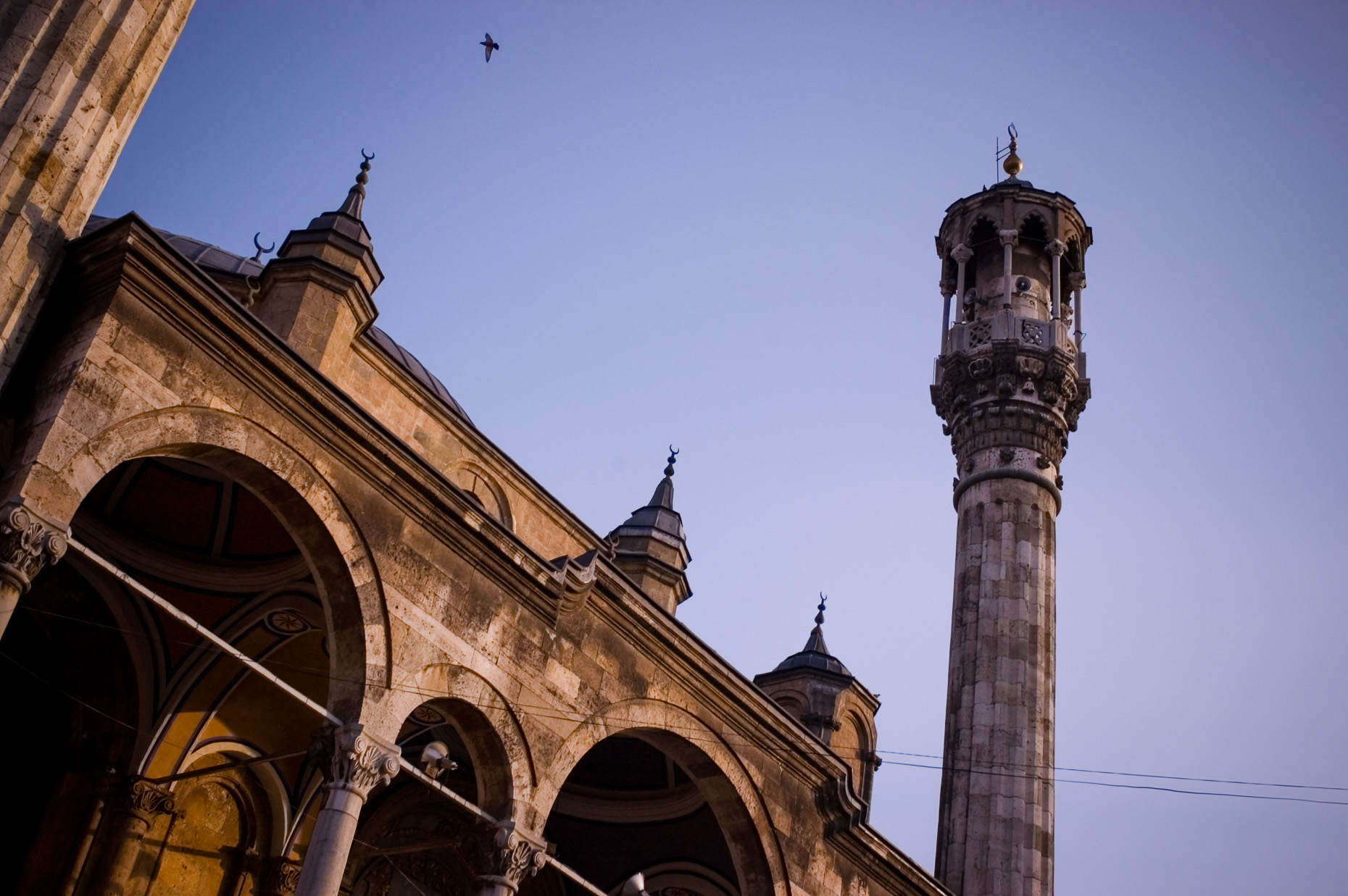 Mosque at sunset in Grand Bazaar  in Konya, Turkey.