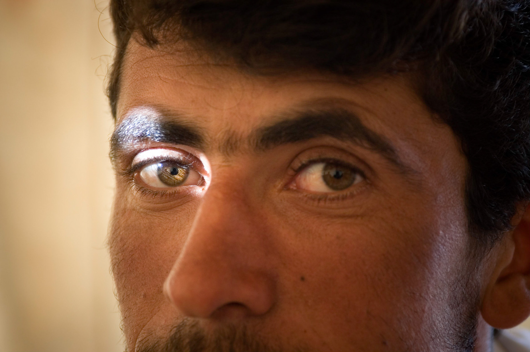 Close up portrait of Kurdish  Peshmurga guard eye, near Syrian border, Turkey.