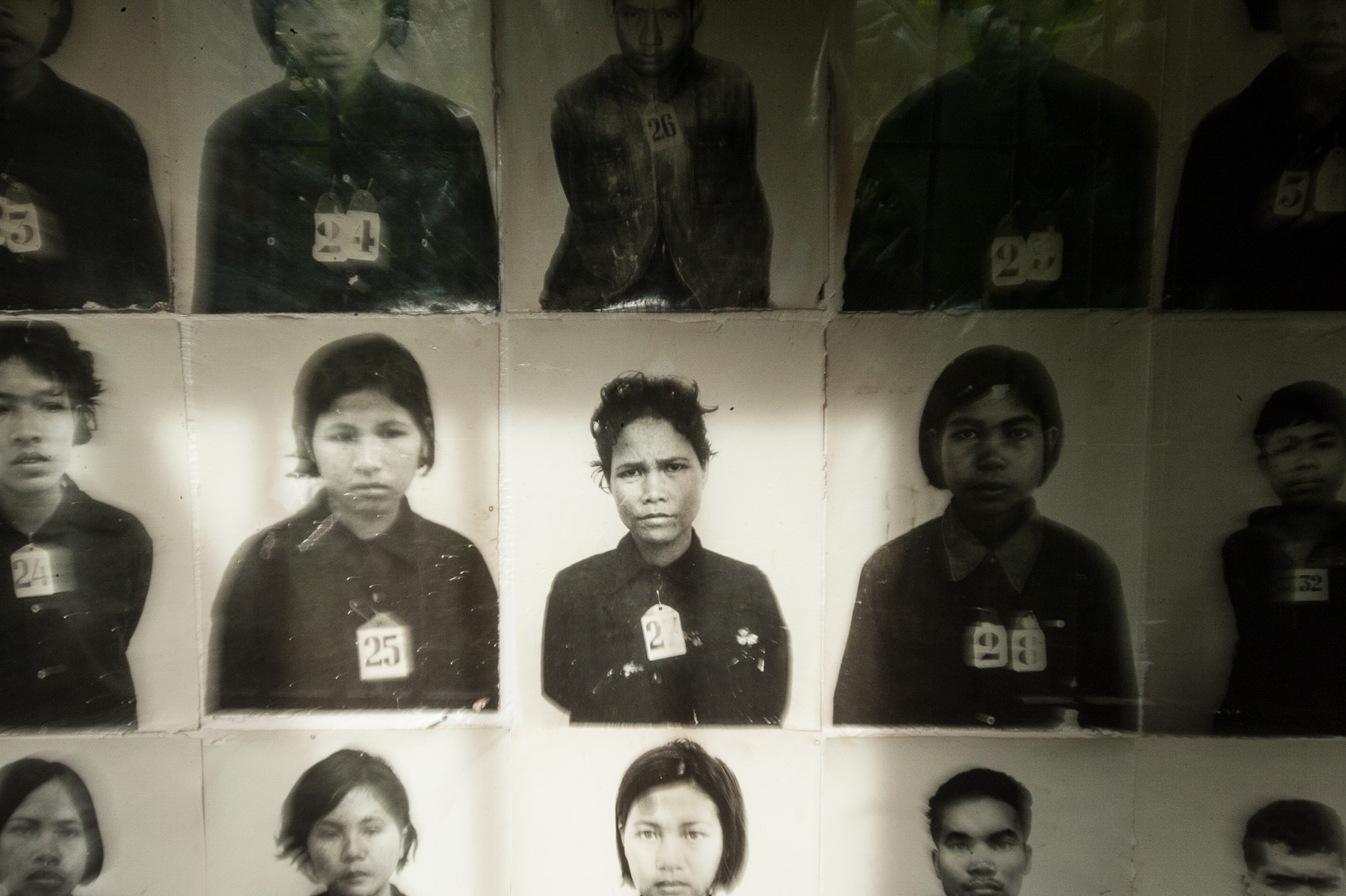 Photos of prisoners of Toul Sleng prison, Phnom Penh Cambodia.