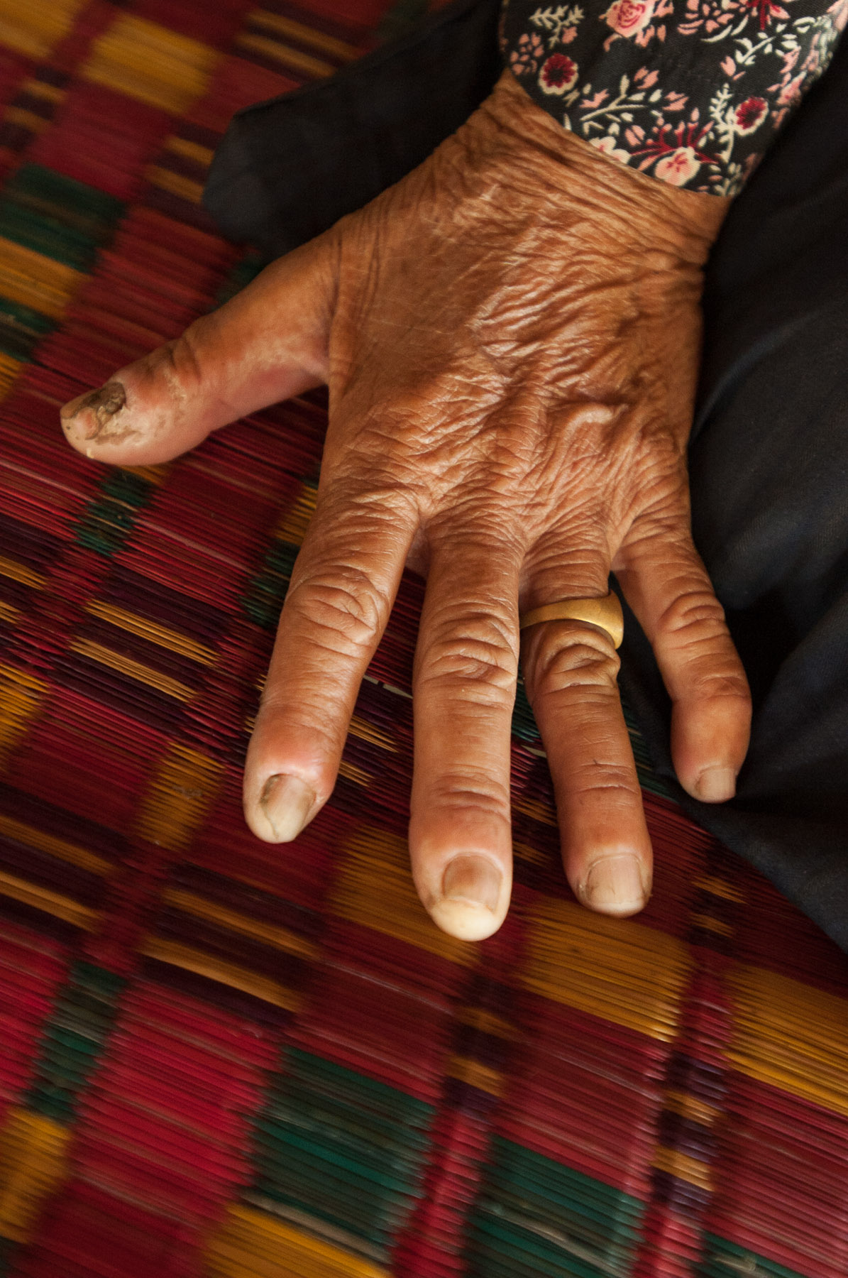 Old Cambodian womans hand, Kampong Cham, Cambodia