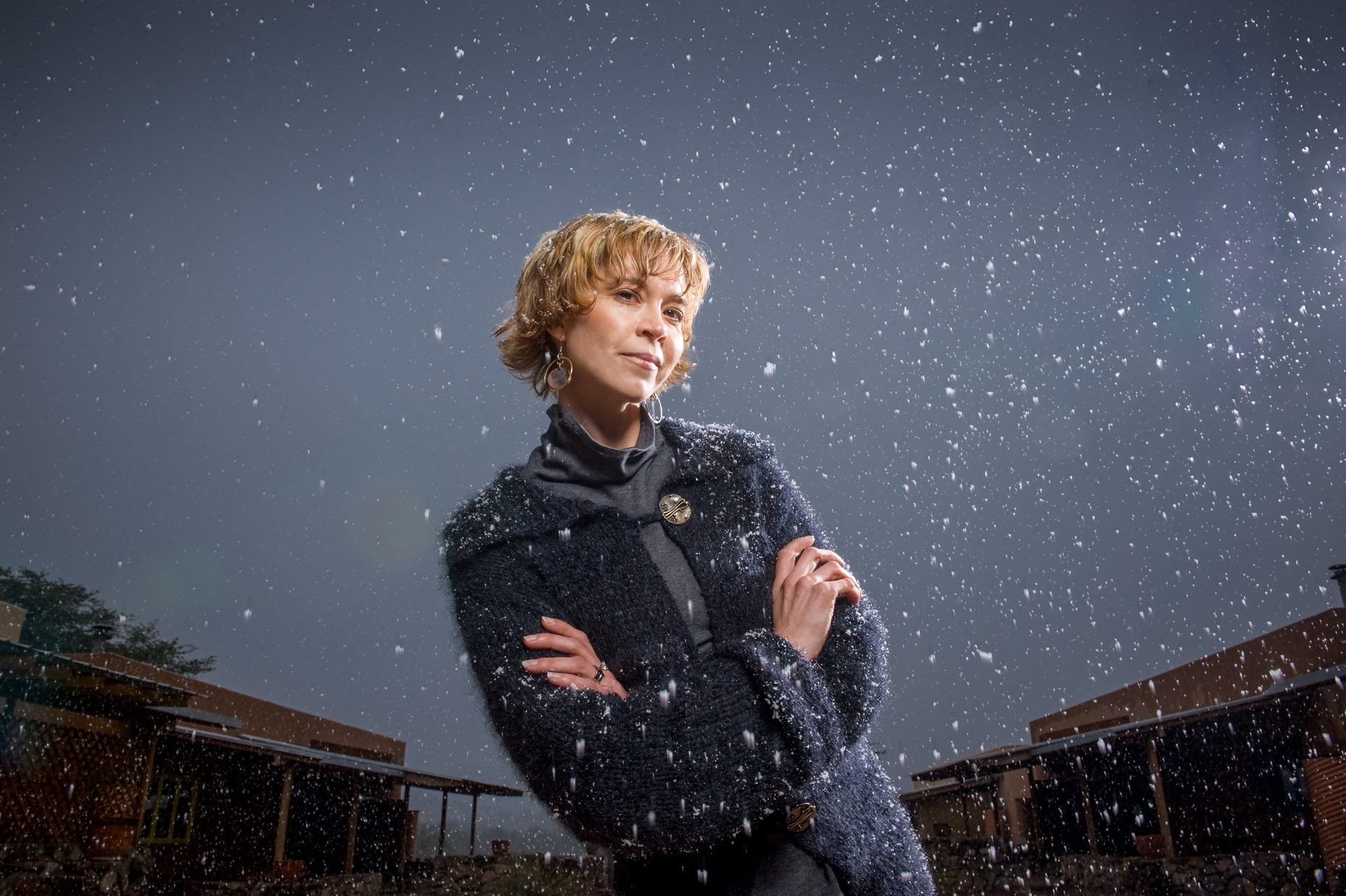 Dramatic fashion portrait of woman in snow