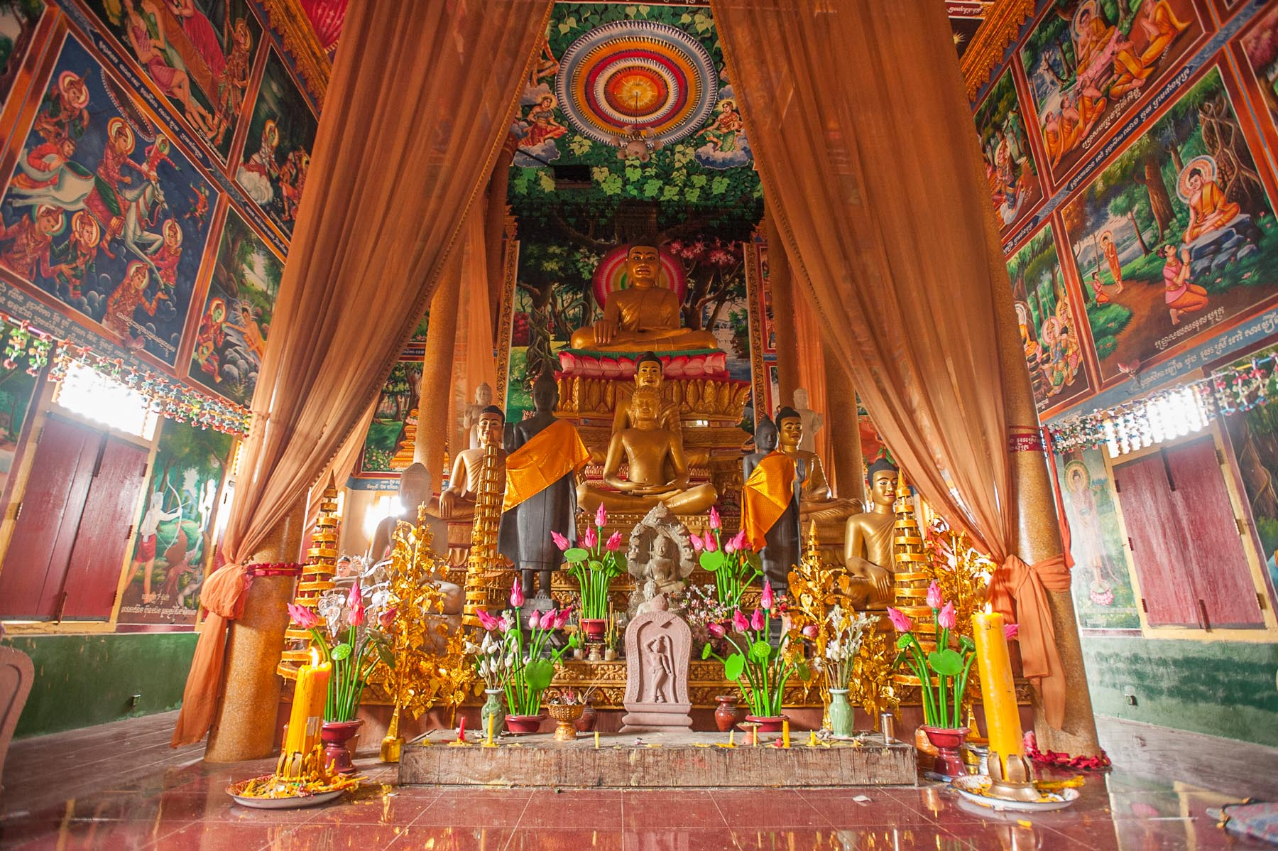 Colorful Buddhist Temple in Siem Reap, Cambodia.