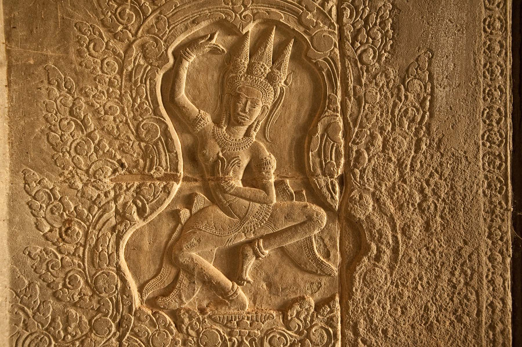 Apsara dancer carving, Ankor Wat temple,  Siem Reap Cambodia.