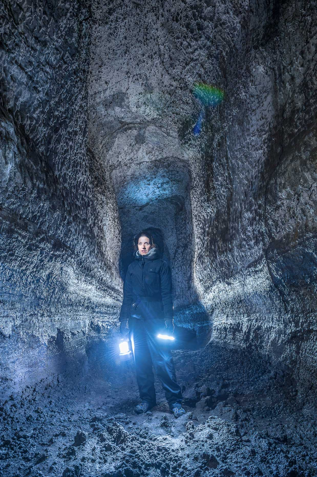 Portrait of woman in ice caves